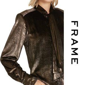 Frame Denim Tops - FRAME • Tie Neck Metallic Velvet Top